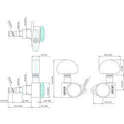 Grover 502G Set Meccaniche Roto-Grip Locking Rotomatics 3+3 - Dorate
