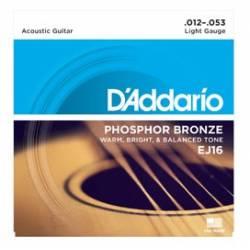 D'ADDARIO EJ16 ACOUSTIC GUITAR STRINGS SET 12-53