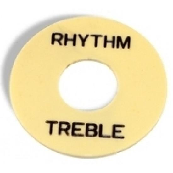 Parts Planet LPSWIBK Piastra selettore tipo LP - Crema con scritta Rhythm/Treble Nera