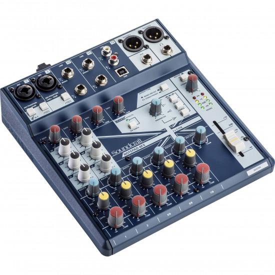SOUNDCRAFT NOTEPAD-8FX MIXER 2 INGRESSI MIC + 6 STEREO LINE + I/O USB + EFFETTO LEXIC ON